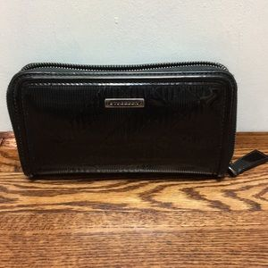 Burberry Black Patent Check Ziparound Wallet